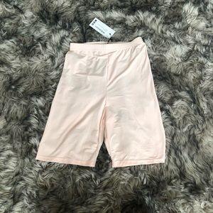 Boohoo Shorts - Pink shiny biker shorts